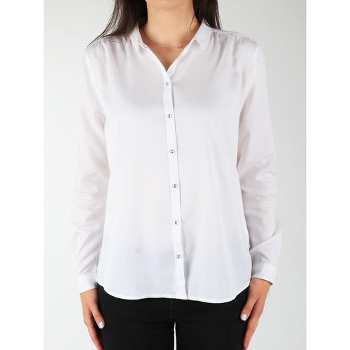 Clothing Women Shirts Wrangler L/S Relaxed Shirt W5190BD12 white