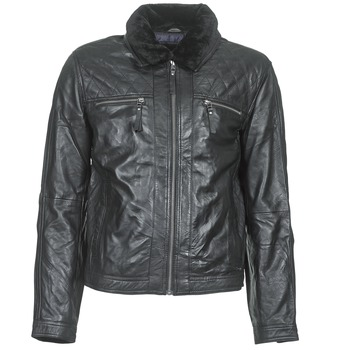 Teddy Smith  BLEATHER  mens Leather jacket in Black