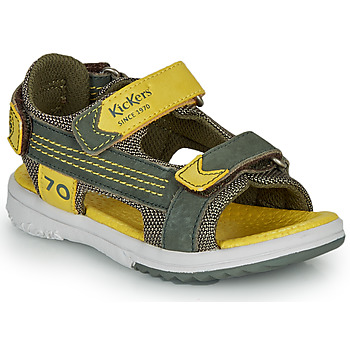 Shoes Boy Sandals Kickers PLANE Kaki / Yellow