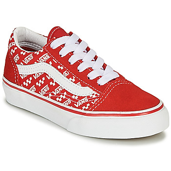 Shoes Children Low top trainers Vans Old Skool Red / White