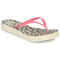 Shoes Women Flip flops Havaianas SLIM FLATFORM ANIMALS Beige / Pink