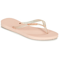 Shoes Women Flip flops Havaianas SLIM LOGO METALLIC Pink