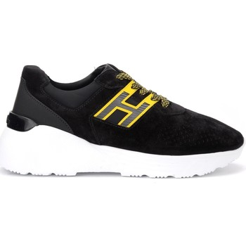 Shoes Men Low top trainers Hogan sneaker model H443 in black suede with yellow details Black