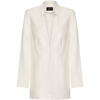 Clothing Women Jackets / Blazers Anastasia Yessica Womens Cream Cotton lined Summer Blazer White