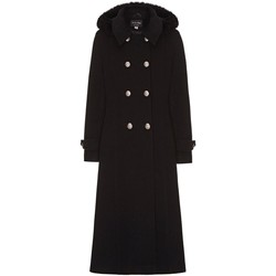 Clothing Women coats Anastasia Black Womens Hood Military Cashmere Coat Black