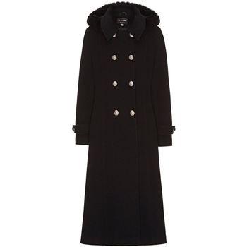 Clothing Women Coats Anastasia Black Womens Hood Military Cashmere Coat Black