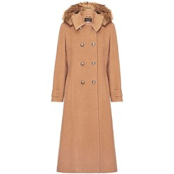 Clothing Women coats Anastasia Camel Womens Hood Military Cashmere Coat Beige