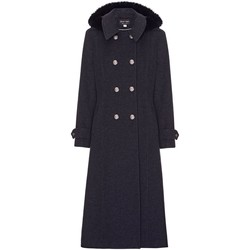 Clothing Women coats Anastasia Grey Womens Hood Military Cashmere Coat Grey