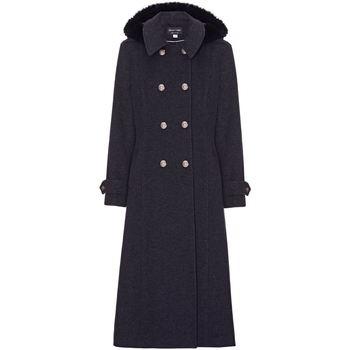 Clothing Women Coats Anastasia Grey Womens Hood Military Cashmere Coat Grey