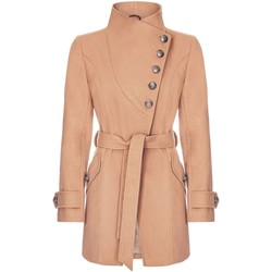 Clothing Women Trench coats Anastasia Camel Womens Multi Button Asymentric Coat Beige