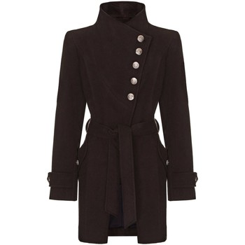 Clothing Women Trench coats Anastasia black Womens Multi Button Asymentric Coat Black