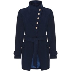 Clothing Women Trench coats Anastasia Navy Womens Multi Button Asymentric Coat Blue