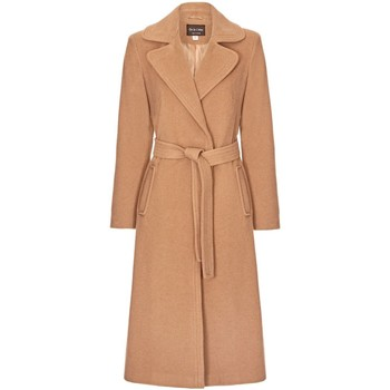 Clothing Women Trench coats Anastasia Camel Womens Cashmere Wrap Belted Coat Beige
