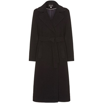 Clothing Women Trench coats Anastasia Black Womens Cashmere Wrap Belted Coat Black