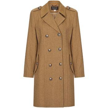 Clothing Women Coats Anastasia Camel Womens DB Twill Military Coat Beige