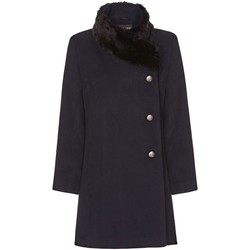 Clothing Women coats De La Creme navy Womens Assymetrical Fur Collar Coat Blue