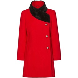 Clothing Women Coats De La Creme Red Womens Assymetrical Fur Collar Coat Red