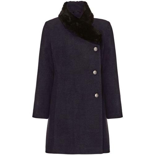 Clothing Women coats De La Creme Grey Womens Assymetrical Fur Collar Coat Grey