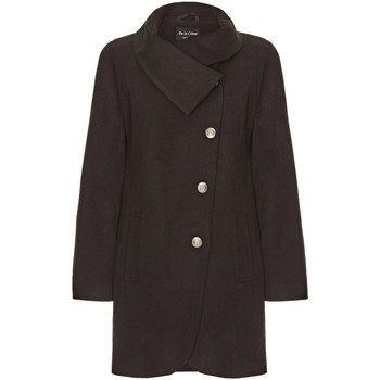Clothing Women coats De La Creme Black Womens Assymetic 3/4 Coat with Multi Buttons Black