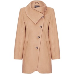 Clothing Women coats De La Creme Black Womens Assymetic 3/4 Coat with Multi Buttons Beige