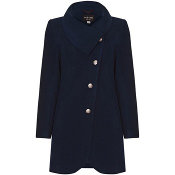 Clothing Women coats De La Creme Lt Grey Womens Assymetic 3/4 Coat with Multi Buttons Blue