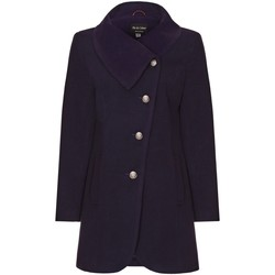 Clothing Women coats De La Creme Navy Womens Assymetic 3/4 Coat with Multi Buttons Purple