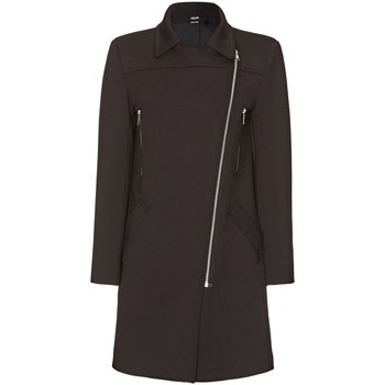 Clothing Women coats De La Creme De la Creme Womens Zip Military Jacket in Neoprene Black