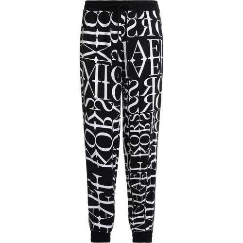 Clothing Women Tracksuit bottoms MICHAEL Michael Kors logoed trousers in white and black color Black