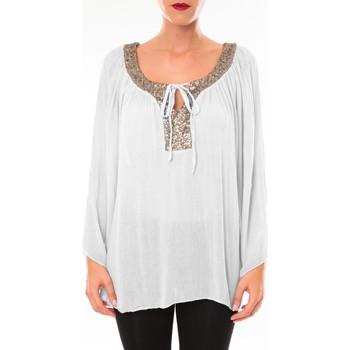 Clothing Women Tunics Tcqb Tunique TDI paillettes Blanc White