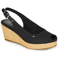 Shoes Women Sandals Tommy Hilfiger ICONIC ELBA SLING BACK WEDGE Black