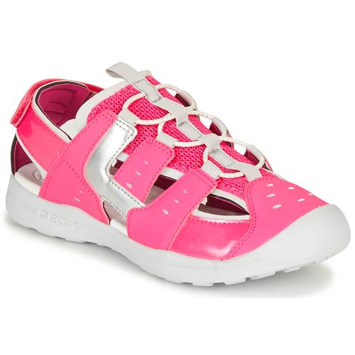 Shoes Girl Outdoor sandals Geox J VANIETT GIRL Pink / Silver