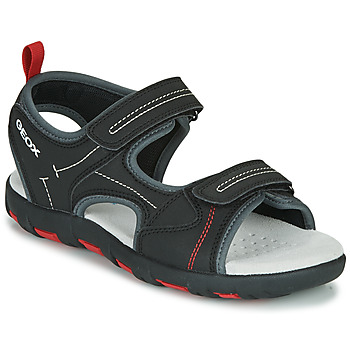 Shoes Boy Outdoor sandals Geox JR SANDAL PIANETA Black / Red