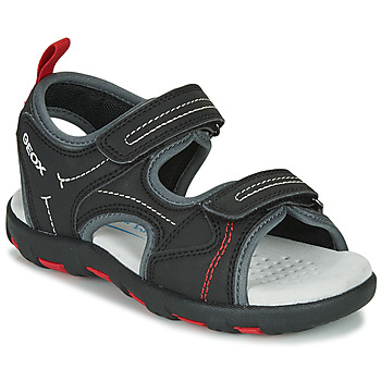 Shoes Boy Outdoor sandals Geox JR SANDAL PIANETA Black / Red