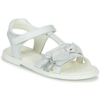 Shoes Girl Sandals Geox J SANDAL KARLY GIRL White / Silver