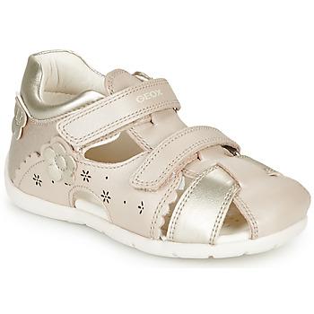 Shoes Girl Sandals Geox B KAYTAN Gold / Beige
