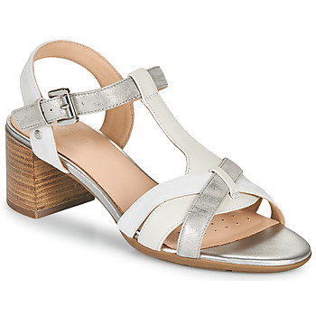 Shoes Women Sandals Geox D MARYKARMEN MID SAN White / Grey