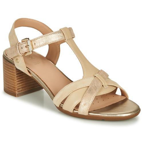 Shoes Women Sandals Geox D MARYKARMEN MID SAN Beige / Gold