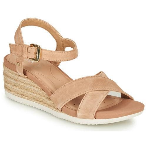 Shoes Women Sandals Geox D ISCHIA CORDA Beige