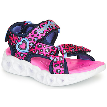 Shoes Girl Outdoor sandals Skechers HEART LIGHTS Pink / Black