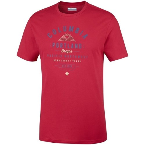 Clothing Men Short-sleeved t-shirts Columbia Leathan Trail Red