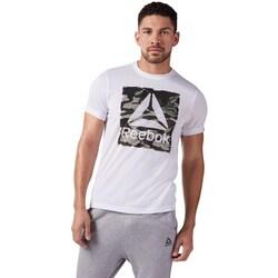 Clothing Men short-sleeved t-shirts Reebok Sport Camo Delta Speedwic White
