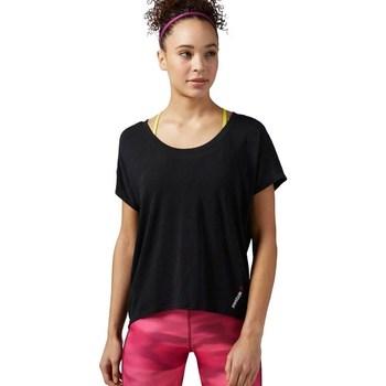 Clothing Women short-sleeved t-shirts Reebok Sport One Series Burnout Black