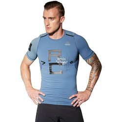Clothing Men short-sleeved t-shirts Reebok Sport Combat Rash Guard Blue