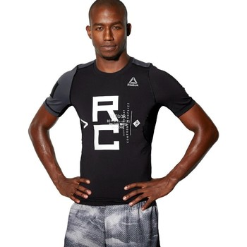 Clothing Men short-sleeved t-shirts Reebok Sport Combat SS Rash Guard Black,Grey