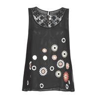 Clothing Women Tops / Sleeveless T-shirts Desigual TEBAS Black