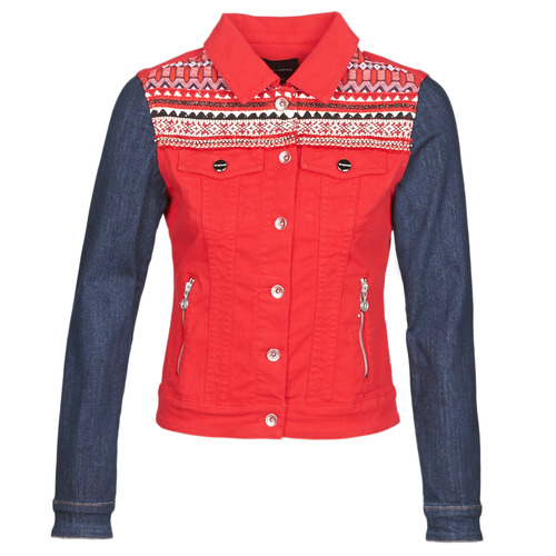 Clothing Women Denim jackets Desigual DUVAL Red / Blue