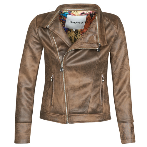 Clothing Women Leather jackets / Imitation leather Desigual BROWARD Cognac