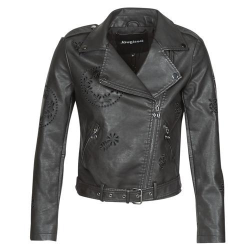 Clothing Women Leather jackets / Imitation leather Desigual UTAH Black