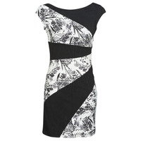Clothing Women Short Dresses Desigual DETROIT Black / White