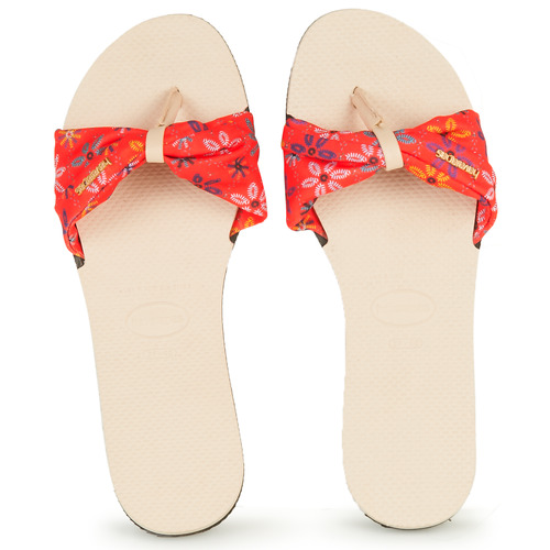 Shoes Women Flip flops Havaianas YOU SAINT TROPEZ Beige / Red